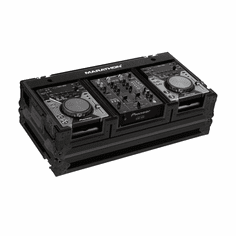 "MARATHON ® FLIGHT ROAD CASE ™ MA-CDJ10WBLK ™ ""BLACK Series"" Coffin Holds 2 x SMALL FORMAT CD players: Pioneer CDJ-200, CDJ-400, Denon DN-S1200, Numark players plus 10"" mixer: Gemini, Numark, Rane, Vestax, Pioneer DJM-400, Denon DN-X100, DN-X120 with low profile wheels"