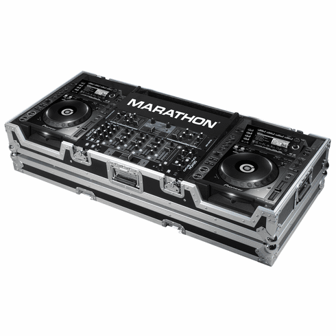 "MARATHON ® FLIGHT ROAD CASE ™ MA-CDJ2K19W ™ Coffin holds 2 x LARGE FORMAT CD Players: Pioneer CDJ-2000 + 19"" MIXER up to 8U rack space w/ low profile wheels"