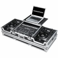 "MARATHON ® FLIGHT ROAD CASE ™ MA-CDJ2K19WLT ™ Coffin holds 2 x LARGE FORMAT CD Players: Pioneer CDJ-2000 + 12"" MIXER and Laptop Shelf w/ low profile wheels"