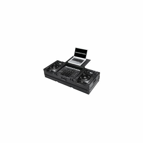 "MARATHON ® FLIGHT ROAD CASE ™ MA-CDJ2K19WLTBLK ™ ""BLACK Series"" Coffin - Holds 2 x Large Format CD Players: Pioneer CDJ-2000 plus 19"" Mixer with low profile wheels: Holds 19"" Mixer up to 8U Rack Space and Laptop Shelf"
