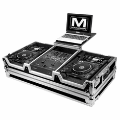 MARATHON ® FLIGHT ROAD CASE ™ MA-CDJ2KRN61WLT CASE TO HOLD 2 X LARGE FORMAT CD PLAYERS: PIONEER CDJ-2000 + RANE SIXTY-ONE SERATO MIXER W/ LOW PROFILE WHEELS + LAPTOP SHELF