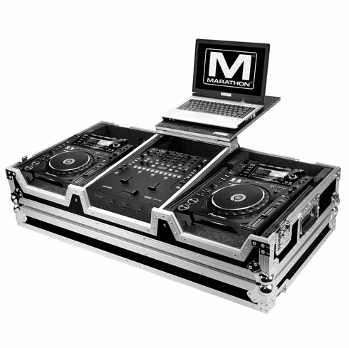 MARATHON ® FLIGHT ROAD CASE ™ MA-CDJ2KRN62WLT CASE TO HOLD 2 X LARGE FORMAT CD PLAYERS: PIONEER CDJ-2000 + RANE SIXTY-TWO SERATO MIXER W/ LOW PROFILE WHEELS + LAPTOP SHELF