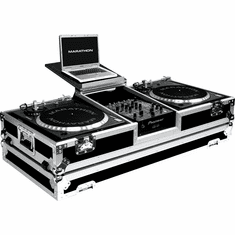 """MARATHON ® FLIGHT ROAD CASE ™ MA-DJ10WLT - BATTLE ™ Holds 2 turntables in BATTLE STYLE POSITION with 10"""" mixer with low profile wheels and LAPTOP SHELF to hold up to a 15"""" laptop. Holds 10"""" mixers such as Rane TTM56, TTM57SL, Numark DXM models, Vestax, Gemin"""