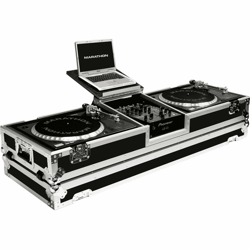 """MARATHON ® FLIGHT ROAD CASE ™ MA-DJ10WLT -STANDARD ™ Holds 2 Turntables in STANDARD STYLE POSITION with 10"""" mixer with Low Profile Wheels & LAPTOP SHELF to hold up to a 15"""" laptop. Holds 10"""" such as Rane TTM56, TTM57SL, Numark DXM models, Behringer, Denon D"""