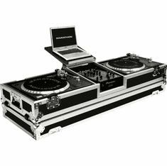 "MARATHON ® FLIGHT ROAD CASE ™ MA-DJ10WLT -STANDARD ™ Holds 2 Turntables in STANDARD STYLE POSITION with 10"" mixer with Low Profile Wheels & LAPTOP SHELF to hold up to a 15"" laptop. Holds 10"" such as Rane TTM56, TTM57SL, Numark DXM models, Behringer, Denon D"