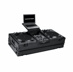 """MARATHON ® FLIGHT ROAD CASE ™ MA-DJ10WLTBLK-BATTLE ™ <br>""""BLACK Series"""" Coffin Holds 2 Turntables in Battle Style position plus 10"""" Mixer with Laptop Shelf and Wheels"""