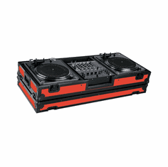 """MARATHON ® FLIGHT ROAD CASE ™ MA-DJ12WBLKRED-BATTLE ™ """"RED-BLACK Series"""" Coffin Holds 2 Turntables in Battle Style position with 12"""" Mixer with Low Profile Wheels"""