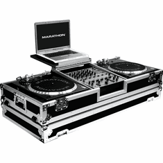 """MARATHON ® FLIGHT ROAD CASE ™ MA-DJ12WLT - BATTLE ™ Holds 2 turntables in BATTLE STYLE POSITION with 12"""" mixer with low profile wheels and LAPTOP SHELF to hold up to a 17"""" laptop. Holds 12"""" mixers such as Pioneer DJM-800, DJM-700, DJM-600, Denon DN-X1500, B"""