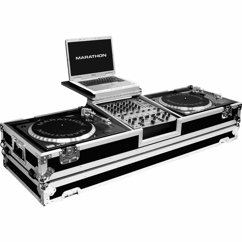 "MARATHON ® FLIGHT ROAD CASE ™ MA-DJ12WLT - STANDARD ™ Holds 2 turntables in STANDARD STYLE POSITION position with 12"" mixer with low profile wheels and LAPTOP SHELF to hold up to a 17"" laptop. Holds 12"" mixers such as Pioneer DJM-800, DJM-700, DJM-600, Denon"