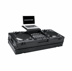 """MARATHON ® FLIGHT ROAD CASE ™ MA-DJ12WLTBLK-BATTLE ™ <br>""""BLACK Series"""" Coffin holds 2 Turntables in Battle Style position with 12"""" Mixer with low profile wheels and Laptop Shelf to hold up to a 17"""" laptop. Holds 12"""" Mixers such as: Pioneer DJM-800, DJM-700,"""