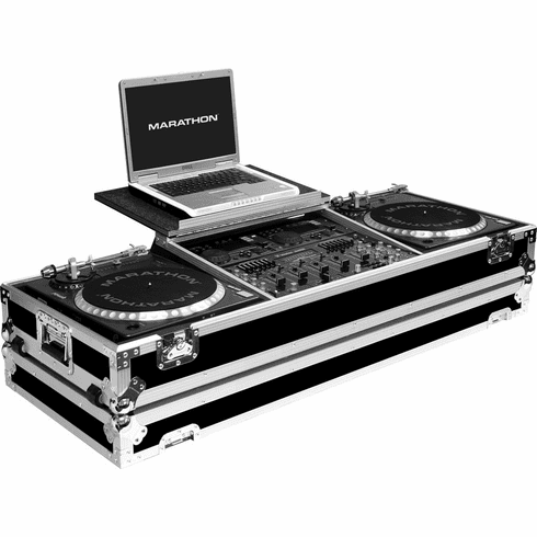 """MARATHON ® FLIGHT ROAD CASE ™ MA-DJ19WLT - BATTLE ™ Holds 2 turntables in BATTLE STYLE POSITION with 19"""" 8U mixer with low profile wheels & LAPTOP SHELF to hold up to a 17"""" laptop. Hold 19"""" mixers up to 8U rack space"""