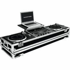 "MARATHON ® FLIGHT ROAD CASE ™ MA-DJ19WLT - STANDARD ™ Holds 2 turntables in STANDARD STYLE POSITION with 19"" 8U mixer with low profile wheels & LAPTOP SHELF to hold up to a 17"" laptop. Hold 19"" mixers up to 8U rack space"