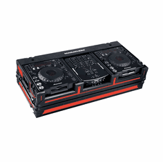 "MARATHON ® FLIGHT ROAD CASE ™ MA-DJCD10WBLKRED ™ ""BLACK-RED Series"", Coffin Holds 2 x Large Format CD Players: Pioneer CDJ1000, CDJ800, DN-HS5500, DNS3500, Stanton C324, Technics SLDZ 1200 plus 10"" Mixer plus low profile wheels, Holds 10"" mixers such as Pioneer DJ"
