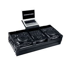 """MARATHON ® FLIGHT ROAD CASE ™ MA-DJCD10WLTBLK ™ <br>""""BLACK Series"""" Coffin Holds 2 x Large Format CD Players plus 10"""" Mixer with Low Profile Wheels & Laptop Shelf to hold up to a 15"""" laptop. Holds 10"""" mixers such as Pioneer DJM-400, Rane TTM-57SL, Numark, Deno"""