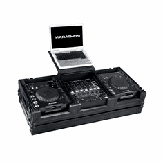 """MARATHON ® FLIGHT ROAD CASE ™ MA-DJCD12WLTBLK ™ <br>""""BLACK Series"""" Coffin Holds 2 x Large Format CD Players plus 12"""" Mixer with Laptop Shelf to hold up to a 17"""" laptop. Holds 12"""" mixers such as DJM-700, DJM-800, Behringer DJX-750, DDM-4000, Denon DN-X1500, D"""