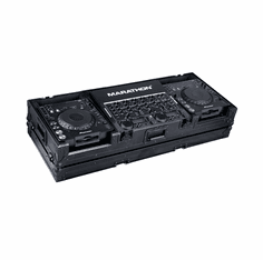 "MARATHON ® FLIGHT ROAD CASE ™ MA-DJCD19WBLK ™ <br>""BLACK Series"", Coffin Holds 2 x Large Format CD Players: Pioneer CDJ1000, CDJ800, DNS3700, DNS3500, plus 19"" mixer with low profile wheels. Holds 19"" mixer up to 8 U rack space"