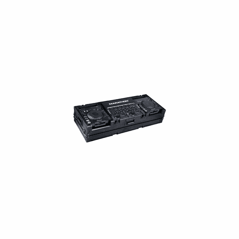 """MARATHON ® FLIGHT ROAD CASE ™ MA-DJCD19WBLK ™ <br>""""BLACK Series"""", Coffin Holds 2 x Large Format CD Players: Pioneer CDJ1000, CDJ800, DNS3700, DNS3500, plus 19"""" mixer with low profile wheels. Holds 19"""" mixer up to 8 U rack space"""