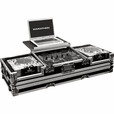 "MARATHON ® FLIGHT ROAD CASE ™ MA-DJCD19WLT ™ Holds 2 x large format CD players: Pioneer CDJ1000, CDJ800, Denon DN-S5000, DN-S3500, DN-S3700, Stanton C303, 304, 314 and Technics SLDZ1200 + 19"" 8U Mixer with low profile wheels and patent pending design laptop"