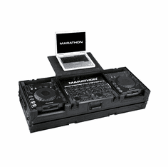 """MARATHON ® FLIGHT ROAD CASE ™ MA-DJCD19WLTBLK ™ <br>""""BLACK Series"""" Coffin Holds 2 x Large Format CD Players: Pioneer CDJ-1000, CDJ-800, DN-S3700, DN-S3500 plus 19"""" mixer with low profile wheels and Laptop Shelf to hold up 17"""" laptop, holds mixers up to 8U rack"""