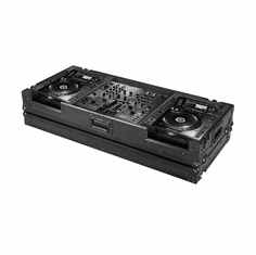 "MARATHON ® FLIGHT ROAD CASE ™ MA-DJMCDJ2000WBLK ™ ""BLACK Series"" Coffin holds 2 X Large Format CD Players: Pioneer CDJ2000, plus DJM-2000 Mixer with Low Profile Wheels"