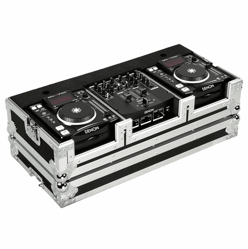 """MARATHON ® FLIGHT ROAD CASE ™ MA-DNSX1200 ™ Coffin Holds 2 x Small Format CD Players such as: Denon-DN-S1000, DN-S1200 plus 10"""" mixer: Denon DN-X100, DN-X120 or any equal size format CD players or mixers"""