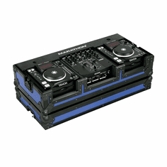 """MARATHON ® FLIGHT ROAD CASE ™ MA-DNSX1200BLKBLUE ™ """"BLUE-BLACK Series"""" - Coffin holds 2 x Small Format CD Players such as: Denon-DN-S1000, DN-S1200 plus 10"""" mixer: Denon DN-X100, DN-X120 or any equal size format CD players or mixers"""