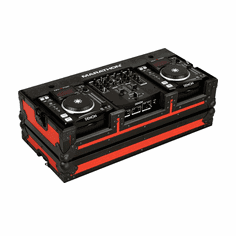 "MARATHON ® FLIGHT ROAD CASE ™ MA-DNSX1200BLKRED ™ ""BLUE-BLACK Series"" - Coffin holds 2 x Small Format CD Players such as: Denon-DN-S1000, DN-S1200 plus 10"" mixer: Denon DN-X100, DN-X120 or any equal size format CD players or mixers"