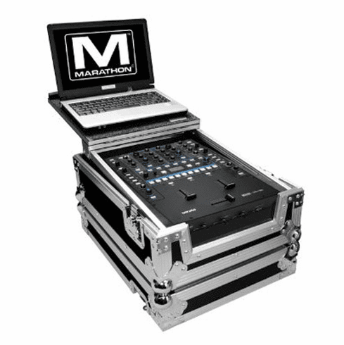 MARATHON ® FLIGHT ROAD CASE ™ MA-RN62LT CASE TO FIT ONE RANE SIXTY-TWO or SIXTY TWO Z SERATO MIXER CONTROLLER OR ANY EQUAL SIZE MIXER + LAPTOP SHELF