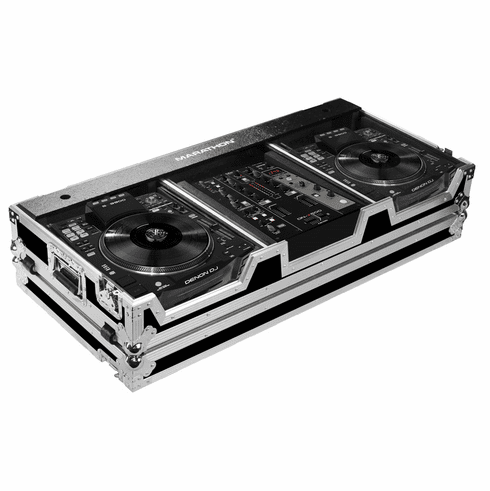"MARATHON ® FLIGHT ROAD CASE ™ MA-SC390010W CASE COFFIN HOLDS 2 X LARGE FORMAT CD PLAYERS: DENON SC3900 + 10"" MIXER: DNX600, DNX120, TTM57SL, DJM350, RANE SIXTY-ONE W/ LOW PROFILE WHEELS"