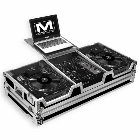"MARATHON ® FLIGHT ROAD CASE ™ MA-SC390010WLT CASE COFFIN HOLDS 2 X LARGE FORMAT CD PLAYERS: DENON SC3900 + 10"" MIXER: DNX600, DNX120, TTM57SL, DJM350, RANE SIXTY-ONE + LAPTOP SHELF W/ LOW PROFILE WHEELS"