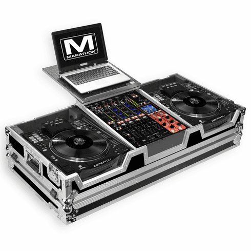 "MARATHON ® FLIGHT ROAD CASE ™ MA-SC390012WLT CASE COFFIN HOLDS 2 X LARGE FORMAT CD PLAYERS: DENON SC3900 + 12"" MIXER: DNX1100, DNX1600, DNX1700, DJM800, DJM850, DJM900 + LAPTOP SHELF W/ LOW PROFILE WHEELS"