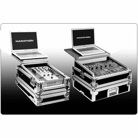 "MARATHON ® FLIGHT ROAD CASES ™ DJ MIXER UNIVERSAL CASES WITH ""PATENT PENDING DESIGN LAPTOP SHELF"""