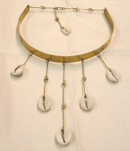 TEXTURED BRASS COLLAR / COWRIE SHELL NECKLACE