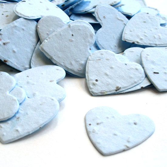 Free Sample of our Blue Heart Shaped Confetti!