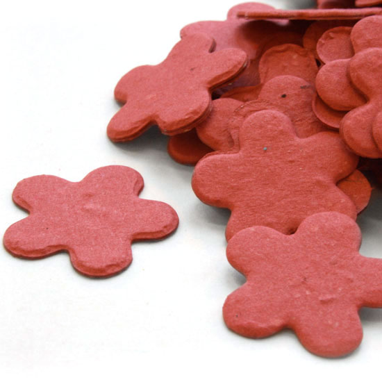 Free Sample of our Brick Red Five Petal Confetti