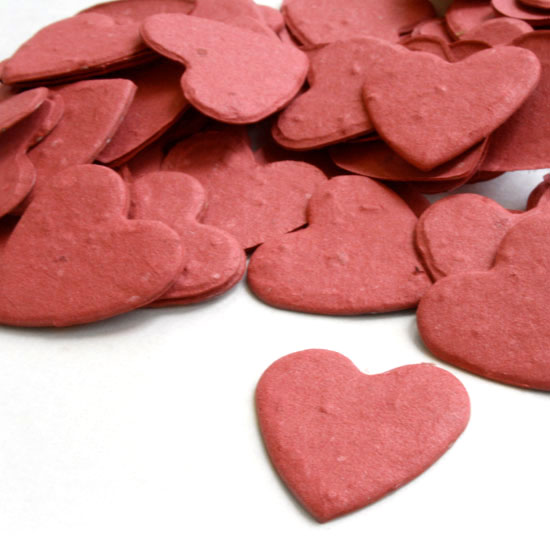 Free Sample of our Brick Red Heart Shaped Confetti!