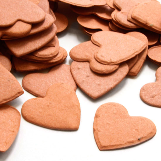 Free Sample of our Burnt Orange Heart Shaped Confetti!