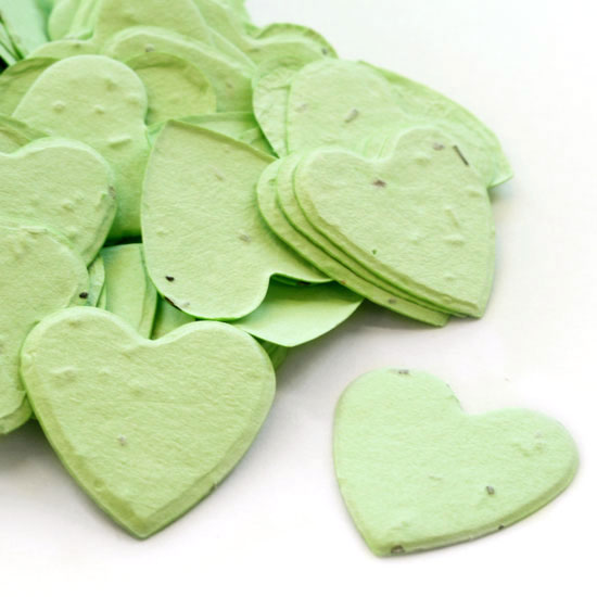 Free Sample of our Green Heart Shaped Confetti!