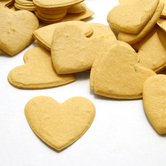 Free Sample of our Mustard Yellow Heart Shaped Confetti!