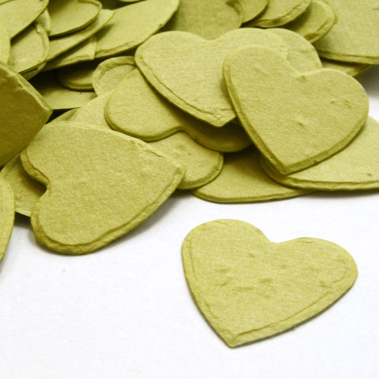 Free Sample of our Olive Green Heart Shaped Confetti!
