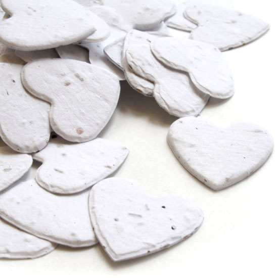 Free Sample of our White Heart Shaped Confetti!