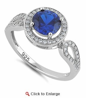Sterling Silver Blue Saphire CZ Halo Engagement Infinity Band Ring