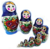 10 Nested  Hand Painted Russian Wooden Dolls, Floral Style