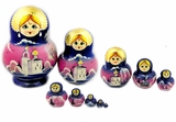 10 Nested Wood Matrioshka Dolls, Church & Nature Scene