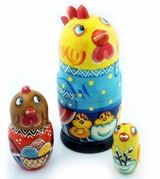 "3 Nested Hand Carved Hand Painted Stocking  Doll ""Chicken"""