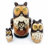 "3 Nested Hand Carved Hand Painted Stocking  Doll ""OWL """