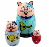 "3 Nested Hand Carved Hand Painted Stocking  Doll ""PIG """