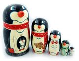 "5 Nested Hand Carved Hand Painted Stocking  Doll ""Penguin """