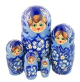 "5 Nested Matreshka  Dolls, ""Floral"" Design, Blue"