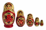 5 Nested Dolls `Flowers`, Hand Carved & Hand Painted